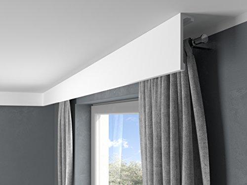 MARDOM DECOR Gardinenblende I QL036 I Lightguard® Stuckleisten Gardinen & Stoff Blende für indirekte LED Beleuchtung konzipiert I 2,40 m x 14,8 cm x 4,6 cm