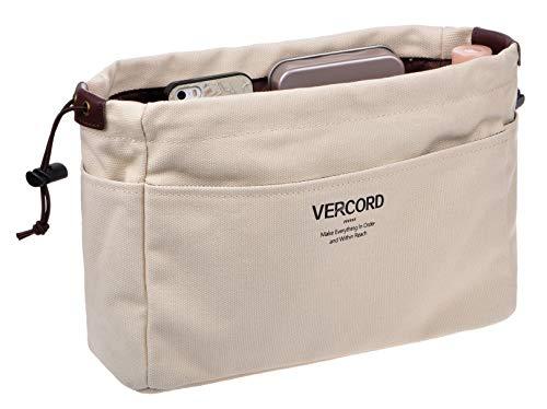 Vercord Canvas Handbag Organizers, Sturdy Purse Insert Organizer Bag in Bag, 10 Pockets Beige Small