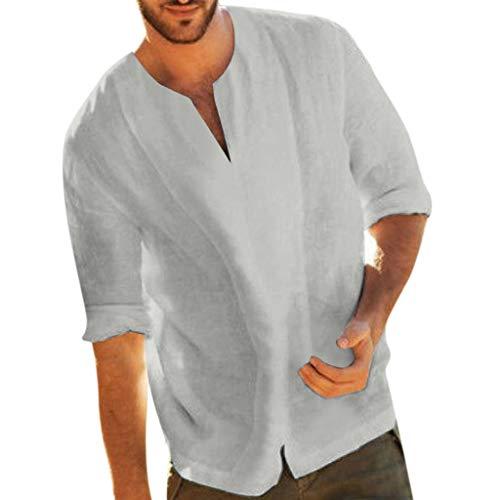Yowablo Herren Hemd Hawaiihemd Freizeithemd Kurzarm Hemd Herren Kurzarm (XXL,Grau)