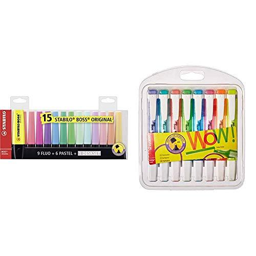 STABILO BOSS ORIGINAL Desk-Set - 15 colori assortiti 9 Neon + 6 Pastel & 275/8-3 Swing Cool Evidenziatore Astuccio