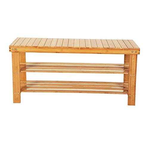 Ghvi Banco de zapatos de entrada de 3 niveles, simple que ahorra espacio para pasillo, baño, patrón de tiras de 90 cm, taburete de bambú de 3 niveles, zapatero color madera