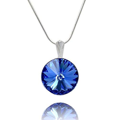 Crystals & Stones *Saphir* *RIVOLI* - Anhänger mit Silberkette aus 925 Silber mit original Swarovski® Elements - Halskette mit Schmucketui
