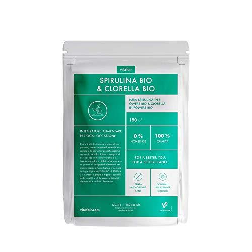 Spirulina BIO & Clorella BIO - 3300mg per Porzione - 180 Capsule - Miscela di Alghe ad Alto Dosaggio - Vegano - Senza Sali di Magnesio - German Quality