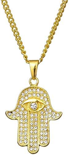FACAIBA Collar Collares y Colgantes de Mano de Fátima Hamsa de Acero Inoxidable para Mujer, Amuleto de circonita cúbica de Color Dorado a la Moda, joyería de Pavo