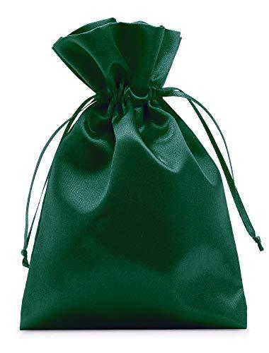 organzabeutel24 | 12 saquitos de satén, bolsa de satén en colores lisos, tamaño 20 x 13 cm, un elegante paquete de regalo, embalaje para joyas, Pascua, calendario de Adviento (verde oscuro).