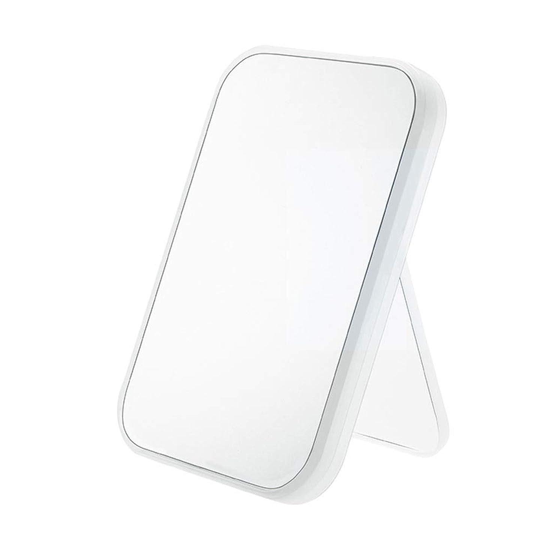 半島植物学者鈍いONOJT 化粧鏡- ホームクリエイティブ折りたたみ化粧鏡寮デスクトップドレッシング化粧鏡広場ハンドヘルドミラー (Color : White, Size : 15x2x22cm)