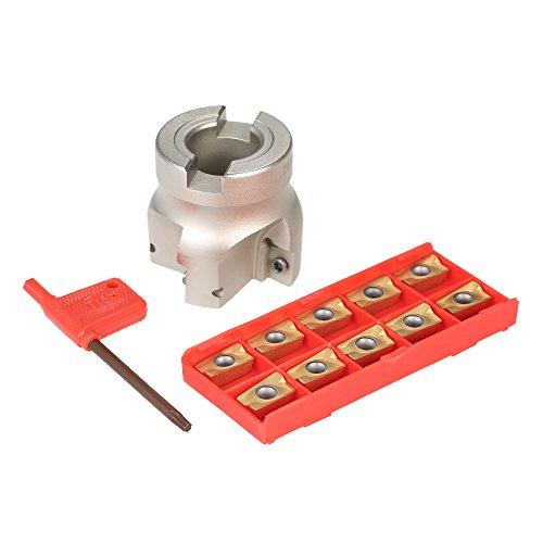 Walmeck BAP400R-50-22 10 Stücke APMT1604 Hartmetalleinsätze + 4 Flöte Planfräser Fräser + T15-Schlüssel CNC-Fräsmaschinen