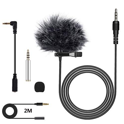Micrófono de Solapa, Stone TH Omnidireccional Lavalier Micrófono de Condensador con Parabrisas para Grabación Entrevista, Teléfono Móvil