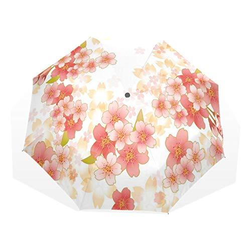LASINSU Regenschirm,Japanische Sakura Blumen Kirschblüten in den vibrierenden Farben,Faltbar Kompakt Sonnenschirm UV Schutz Winddicht Regenschirm
