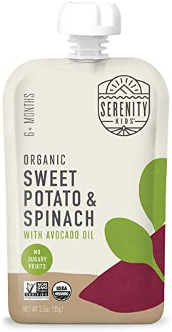 Serenity Kids Baby Food Organic Sweet Potato and Spinach with Avocado Oil For 6 Months 3 5 Ounce product image