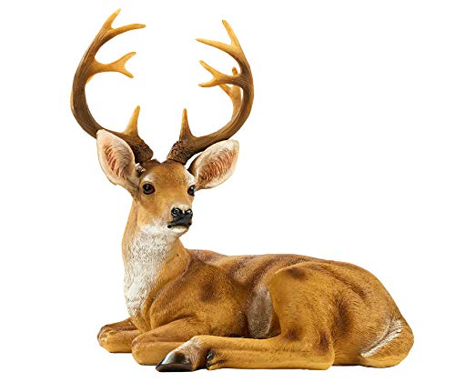 "JHVYF 13"" H Resin Buck Statue Home Office Decor Animal Figurine Deer Decorations Lawn Decor Housewarming Gift Garden Sculpture"