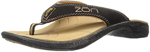 Neat Feat Men's Zori Sport Orthotic Slip-On Sandals Flip Flop, Black/Tan, 11 D US