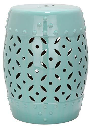 Safavieh EAC4510C Gartenhocker für Innen/Draußen, Glasierte Keramik, sanftes türkis, 33 x 33 x 46.99 cm