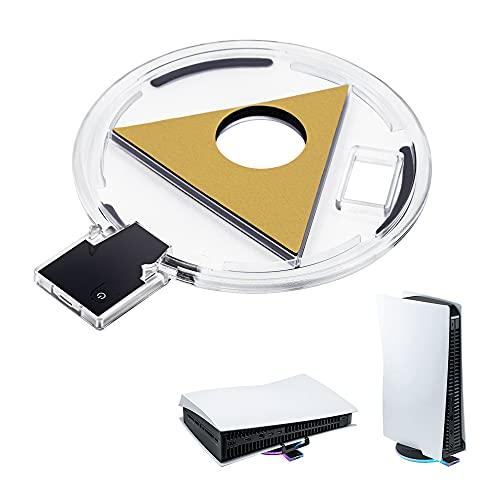 Mcbazel Base RGB ajustable, soporte de iluminación PS5, soporte de luz de atmósfera LED Soporte de estación horizontal vertical para accesorios de consola de juegos PS5