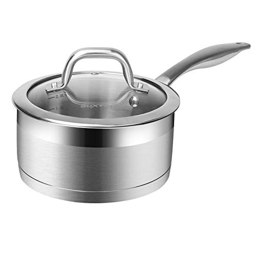 Duxtop Professional Stainless Steel Sauce Pan with Lid, Kitchen Cookware, Induction Pot with Impact-bonded Base Technology, 2.5 Quart