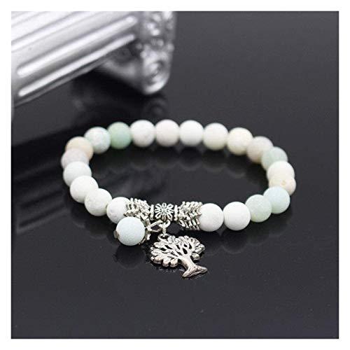 Pulsera de piedra, mujer, 7 chakra, perlas de ágata natural, brazalete elástico, árbol, de vida, colgante, joyería, roga, yoga, meditación, energía, joyería, joyería de encanto Pulsera de chakra