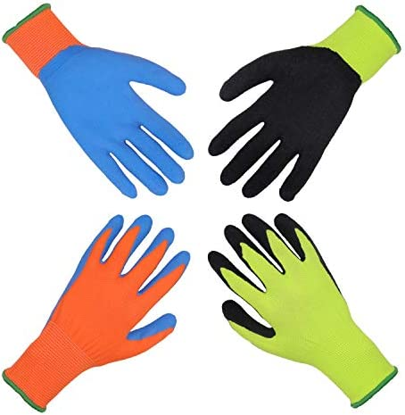 Kids Gardening Gripper Gloves for age 3 13 2 Pairs Foam Rubber Coated Garden Gloves for girls product image