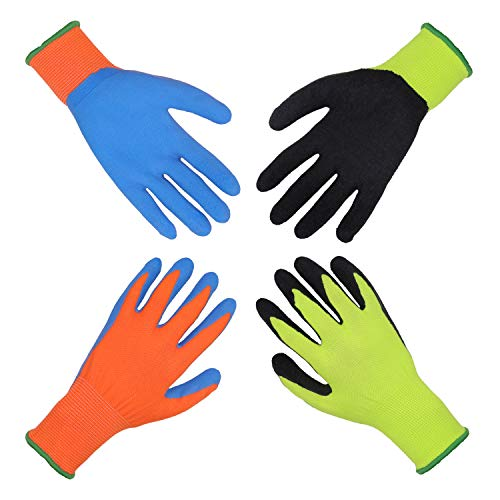 2 pares de guantes de jardín para niños de 2 a 3 años, de 4 a 5 años, de 6 a 13 años, con revestimiento de goma de espuma y guantes de trabajo para niñas y niños (S (de 11 a 13 años)