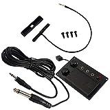 Alnicov Violín eléctrico negro Silent EQ Pickup Piezo con orificio de enchufe Cable Violín Traje Piezas de instrumentos de cuerda