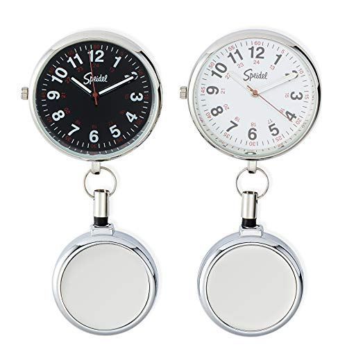 Speidel Nurse Fob Watch for Medical Professionals, Clip on Watch with Second Hand, Easy to Read, Retractable Rope