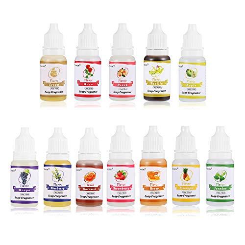 Funxim Seifenduftöl, 12 flüssige Düfte für DIY Schleim, Kosmetik und Badebombe, je 10 ml