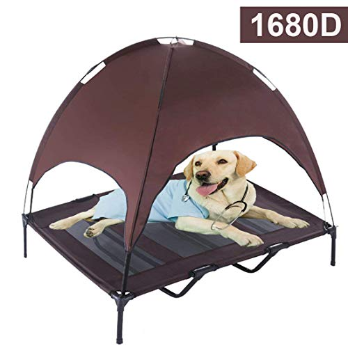 Reliancer Large 48' Elevated Dog Cot with Canopy Shade 1680D Oxford Fabric Outdoor Pet Cat Cooling Bed Tent w/Convenient Carrying Bag Indoor Sturdy Steel Frame Portable for Camping Beach (48, Brown)