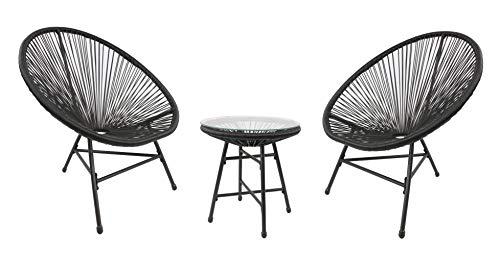 RayGar Juego de 3 sillas de diseño de huevo Bistro para interiores y exteriores, color negro