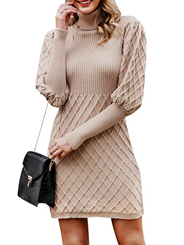 ❥Soft & Good touch:100% polyester.Slightly stretchy,but you'd better refer to our size chart(Not Amazon's).Fitted sexy knitted short dress will accompany with you in Spring,Fall,Winter. ❥Designs:ribbed pullover with turtleneck keeps you warm and modi...