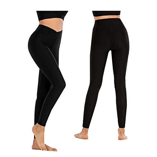 Leggings Deportivos para Mujer Pantalón De Yoga De Cintura Alta Entrenamiento Botín Leggings Scrunch Medias De Levantamiento De Glúteos,Negro,M