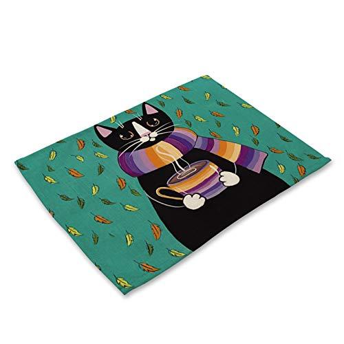 ABCABC Placemat de 42x32cm para Mesa de Comedor Lindo Gato de Dibujos Animados Animal Coaster Creativo Impreso Resistente al Calor Accesorios de Comedor (Color : Cat 6, Shape Style : 42x32cm)