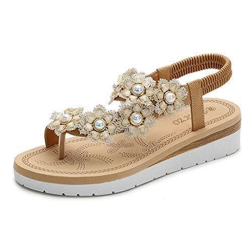 Longra Infradito Sandaletti Pantofole da Donna con Perla Fiori Sandali con Cinturino alla Caviglia Donna Scarpe Basse Infradito Casual Scarpe da Spiaggia Sandali Pantofole