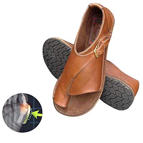 Sandalias de verano para mujer Zapatos de corrección de pie zapatillas de cuero de PU de suela plana Antideslizantes Resistentes al desgaste Zapatillas cómodas para corrección ortopédica del dedo gord