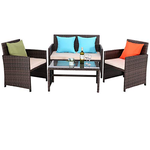 Do4U Outdoor Patio Furniture Set 4 Pcs PE Rattan Wicker Garden Sofa and Chairs Set with Beige...
