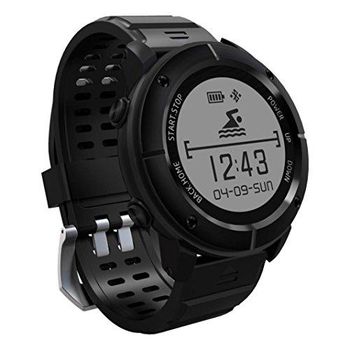TPulling, Mode UW80 - Smartwatch sportivo, fitness tracker, con cardiofrequenzimetro, rilevazione della tensione arteriosa e pressione sanguigna, rilevamento del sonno, navigatore GPS, Bluetooth, Nero