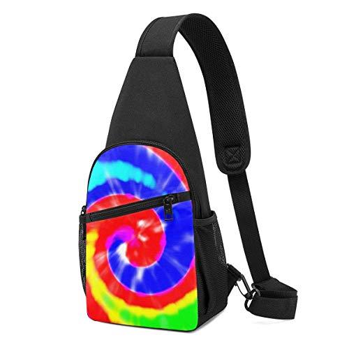DJNGN Pettorina da uomo fantasia tie dye con colore arcobaleno sfocato e effetto zoom borsa a tracolla leggera con tracolla regolabile per lo shopping escursionismo sport all'aria aperta