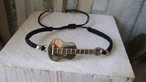 Pulsera tejida en macrame,guitarra, hecha a mano, para el
