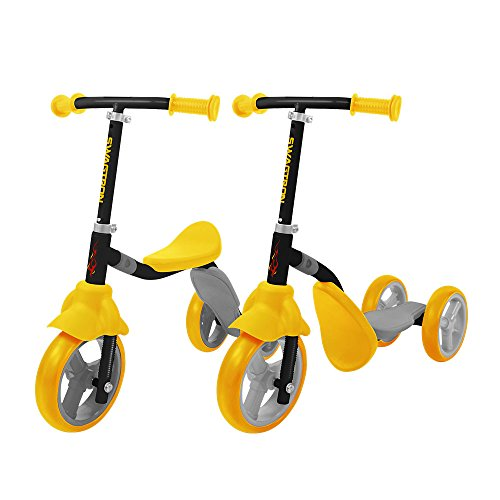 K2 Toddler 3 Wheel Kick Scooter amp RideOn Balance Trike 2in1 Adjustable for 2 3 4 5 Year Old Kids Boy or Girl Transforms In Seconds Yellow
