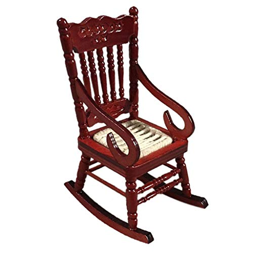 Janly Clearance Sale Garage Kits, Miniature Rocking Chair for 1:12 Dollhouse Wooden Furniture Model Set , Toys and Hobbies for Kid's Gifts (Red)
