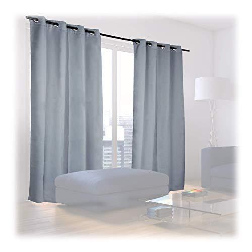 Relaxdays Verdunklungsvorhänge mit Ösen, 2er-Set, einfarbig, waschbar, HBT: 245 x 135 x 0,5 cm, grau