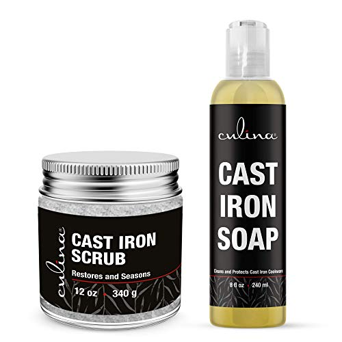 Culina Cast Iron Cleaning Set: Restoring Scrub & Cleaning Soap | Best for Cleaning Care, Washing & Restoring | 100% Plant-Based | for Cast Iron Cookware, Skillets, Pans & Grills!