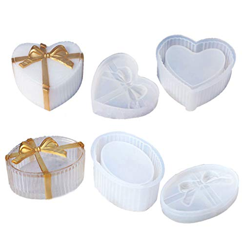 zhiwenCZW 2pcs cajas de regalo moldes de silicona con cintas cajas de joyería moldes corazón forma ovalada silicona resina moldes arte manualidades herramientas