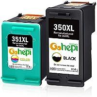 Gohepi 350XL 351XL Cartuchos de tinta Remanufacturado HP 350 351 Compatible para HP Deskjet D4260,HP Officejet J5780 J6410,HP Photosmart C4200 C4270 C4280 C4380 C4480 C4500 C5280(1 Negro,1 Tricolor)