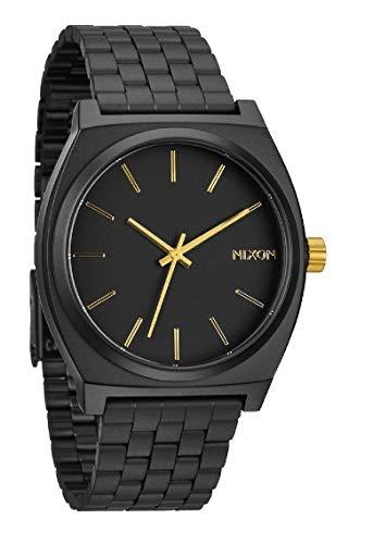 Nixon Time Teller, Nixon Reloj Negro con marcadores de la hora Dorada, Nixon Relojes Mujer