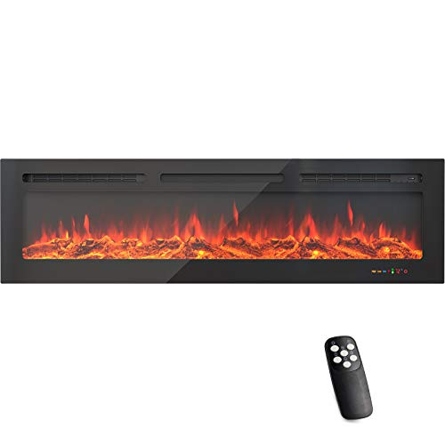 KUPPET 60 Inches Electric Fireplace WiFi Control Recessed and Wall Mounted with Overheating Protection,Thermostat,Timer & Remote, Log & Crystal,Touch Screen Compatible with Alexa