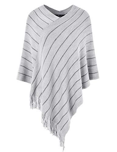 Ferand Gestreifter Warmer Damen Poncho-Pullover in Übergröße, Schal zum Umhängen mit Mehrweg-Ausschnitt, One Size, Hellgrau