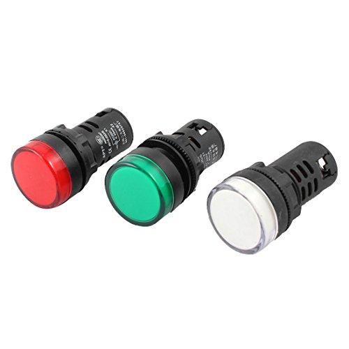 sourcingmap AC 220V 20 mA LED Lampe de signalisation Rouge Vert 16-22D AD S/Blanc Lot de 3