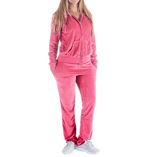 Women's 2 Piece Outfits Velvet Zip Hoodie Sweatshirt & Sweatpants Sweatsuits and Velour Tracksuit Sets Jogging Suit (Large, Coral)