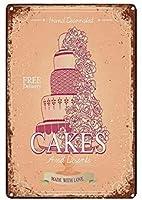 ケーキ、錫サインヴィンテージ面白い生き物鉄の絵の金属板ノベルティ
