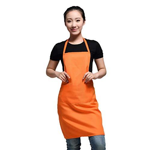 MLOPPTE delantal de trabajo de diseño clásico de poliéster de color negro 63x70cm delantal de cocina con bolsillo delantal de parejas orangecolor6