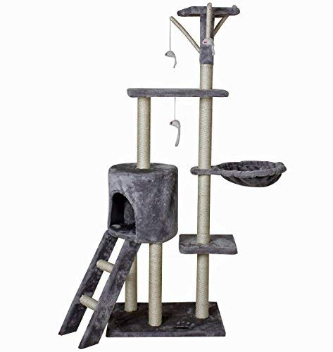 Tiragraffi e cuccia per gatti, in sisal, 50 x 35 x 138 cm, colore: grigio
